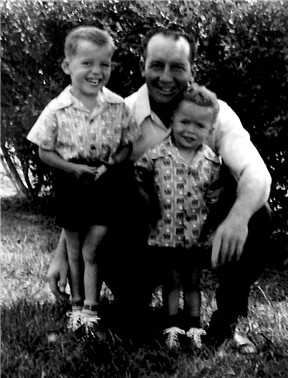 Erick, when 2 1/2 years old, on the left, Erick's brother, Frankie, and their dad, Frank W A Conard on April 17, 1951