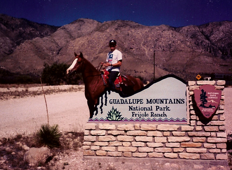 Erick in October, 1994, at Guadalupe Peak with his Anglo Arabian, Lady
