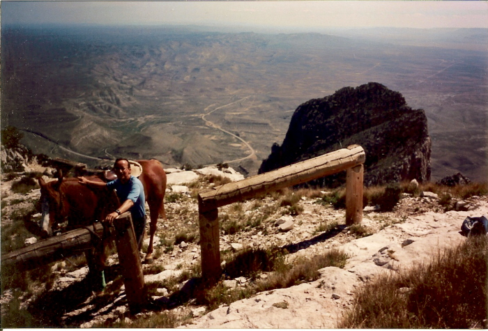 Erick in October, 1994, with Lady at the top of Guadalupe Peak