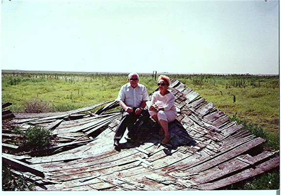 Frank W A Conard with his sister, Hazel Fern Conard Burns, on the roof of that house in 1989.