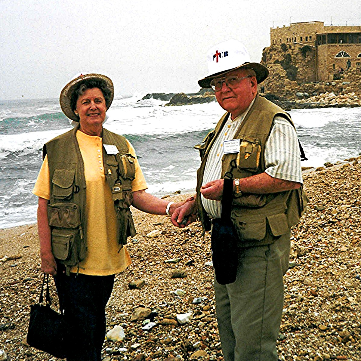 Frank Conard with his wife Billie Faye Waller Conard in Israel at Caesarea Phillipi in April 1998